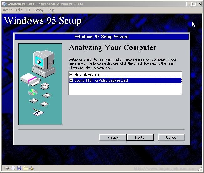 HuguesJohnson com: Windows 95 Virtual PC